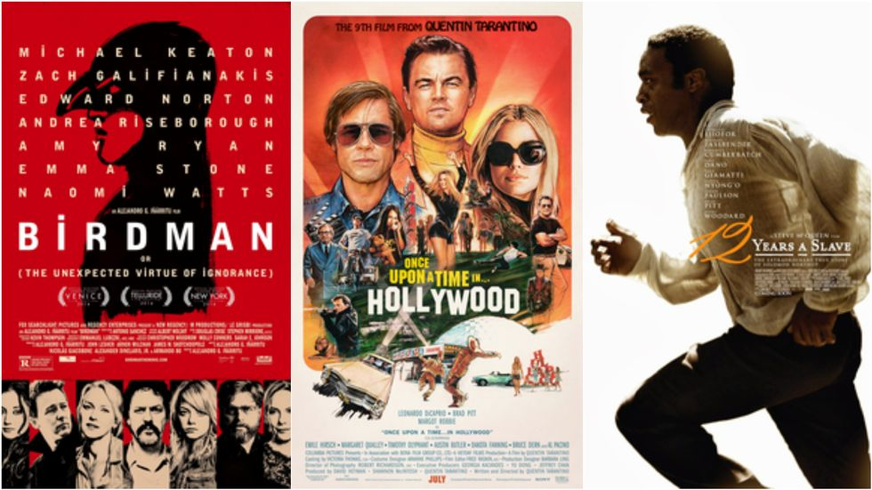 «Birdman» (2014),  «Once Upon A Time in Hollywood» (2019) og «12 Years a Slave»                      (Foto: Fox Searchligt og Sony)